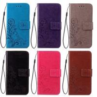 Кожаный чехол (книжка) Four-leaf Clover с визитницей для Samsung Galaxy J5 (J500H)