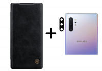 Кожаный чехол (книжка) Nillkin Qin Series для Samsung Galaxy Note 10 Plus + Гибкое ультратонкое стекло Epic на камеру для Samsung Galaxy Note 10 Plus