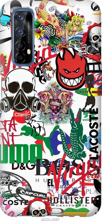 Чехол на Realme 7 Many different logos