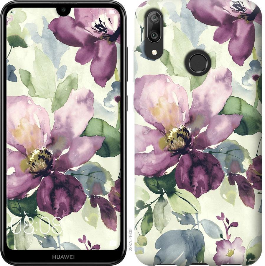 Чехол на Huawei Y7 2019 Цветы акварелью