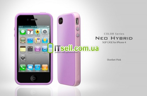 Фото Накладка SGP Neo Hybrid Color Series для Iphone 4 / 4S фиолетовый на itsell.ua