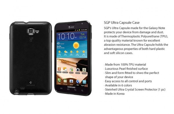 Накладка SGP Case Ultra Capsule для Samsung Galaxy Note N7000 черный на itsell.ua
