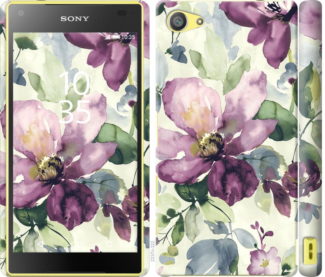 Чехол на Sony Xperia Z5 Compact E5823 Цветы акварелью