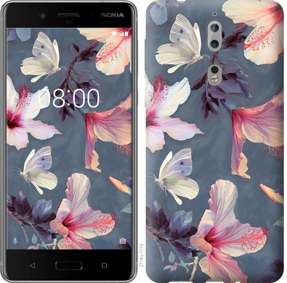 Чехол на Nokia 8 Нарисованные цветы