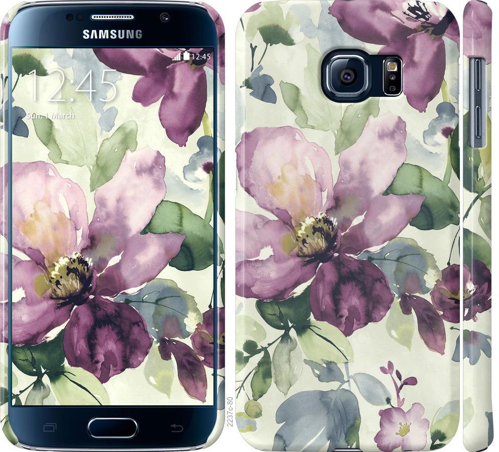 Чехол на Samsung Galaxy S6 G920 Цветы акварелью