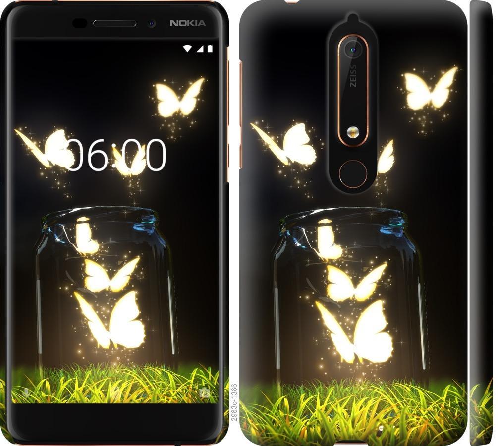 Чехол на Nokia 6.1 Светящиеся бабочки