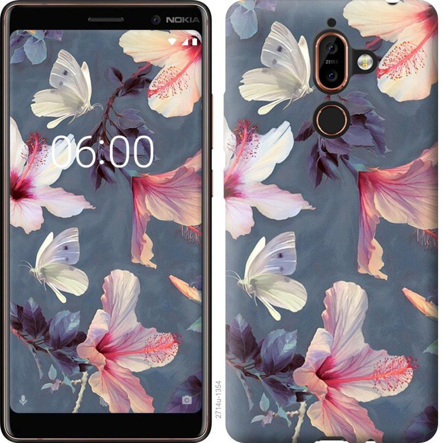 Чехол на Nokia 7 Plus Нарисованные цветы