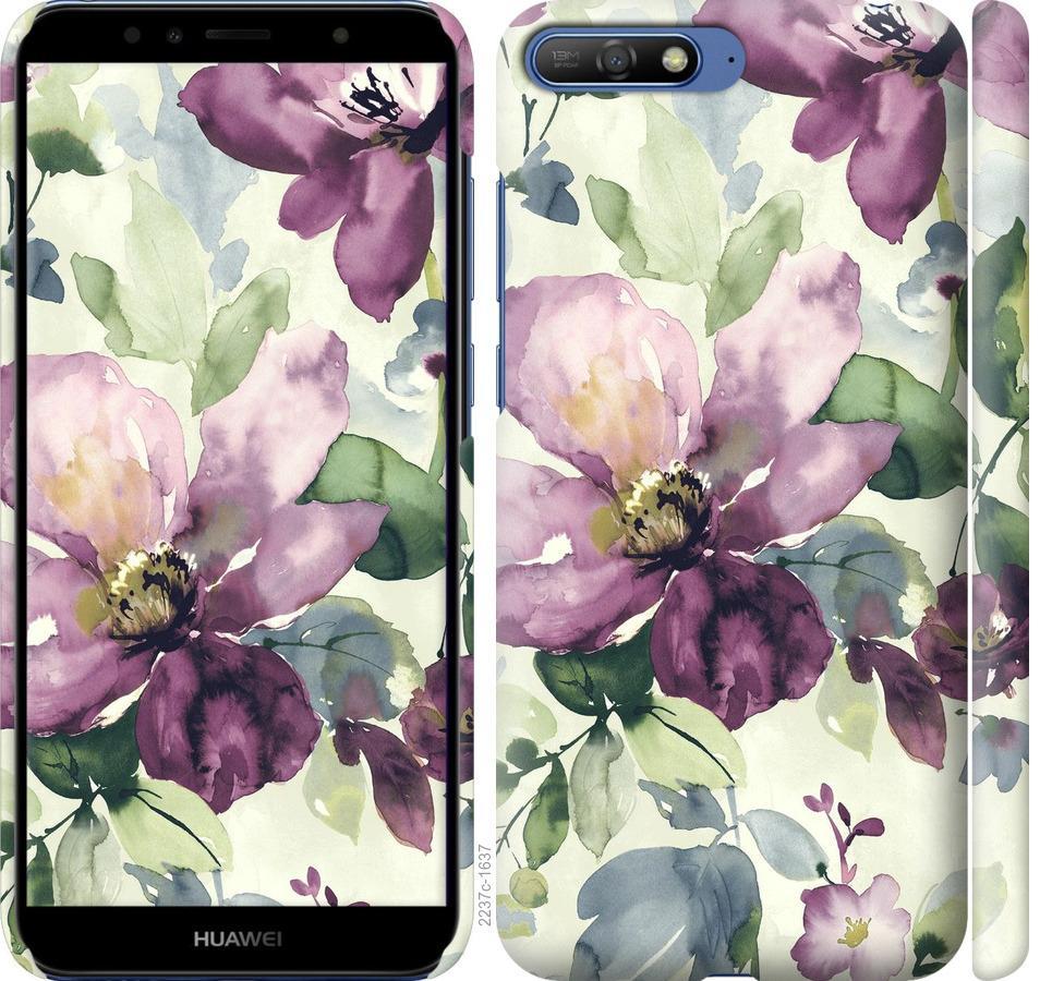 Чехол на Huawei Y6 2018 Цветы акварелью