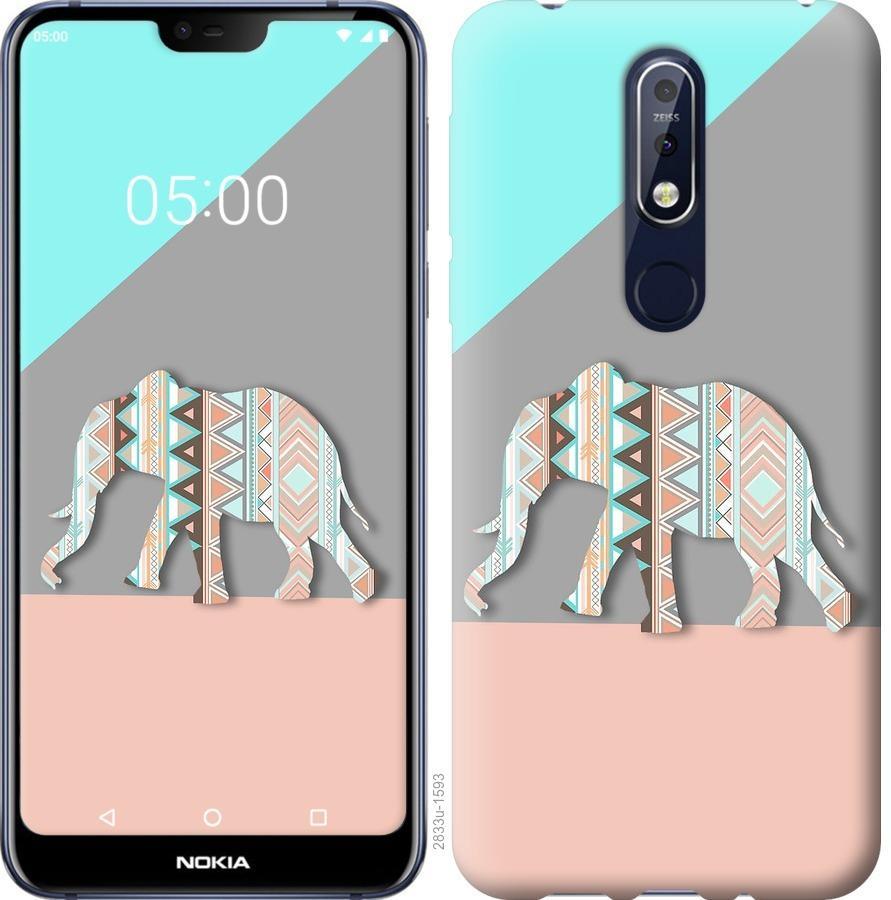 Чехол на Nokia 7.1 Узорчатый слон