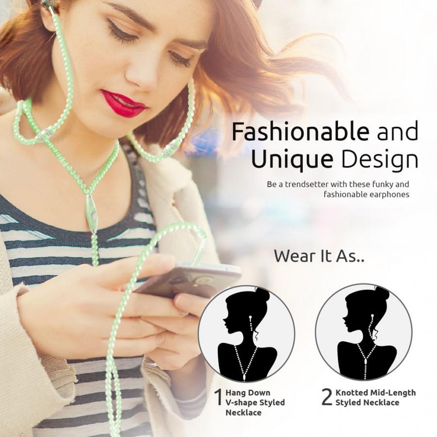 Проводная гарнитура Promate - Pearli Jewelry Pearl Necklace Stereo Earphones