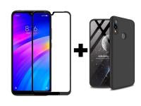 Пластиковая накладка GKK LikGus 360 градусов для Xiaomi Redmi 7 + Гибкое ультратонкое стекло Caisles для Xiaomi Redmi 7