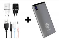 Портативное зарядное устройство Power bank Lenyes Y88 10000 mAh + Дата кабель USAMS US-SJ246 Ice-cream series USB to Type-C (1m) + СЗУ Hoco C12 Dual USB Charger 2.4A