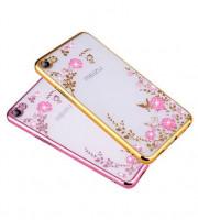 Купить Прозрачный чехол с цветами и стразами для Meizu U10 с глянцевым бампером, Epik