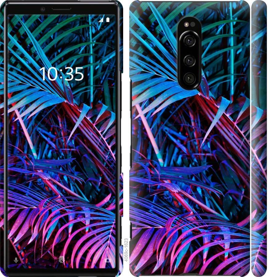 Чехол на Sony Xperia 1 J9110 Папоротник под ультрафиолетом