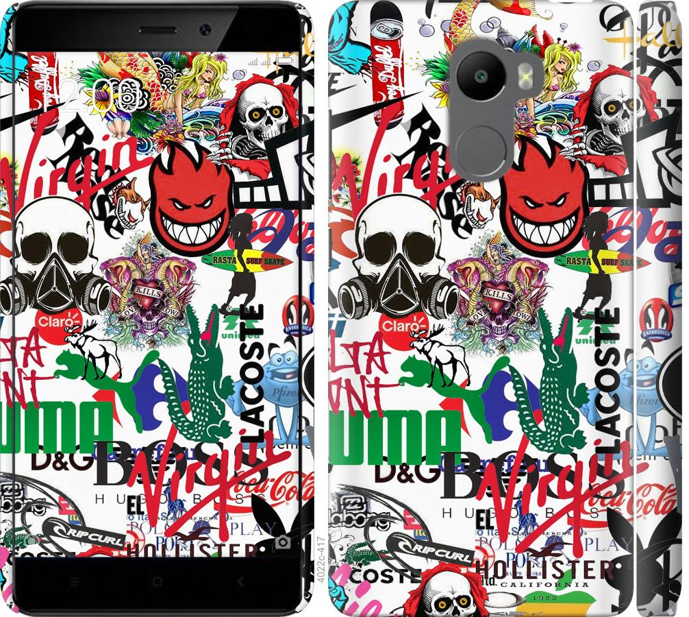 Чехол на Xiaomi Redmi 4 Many different logos
