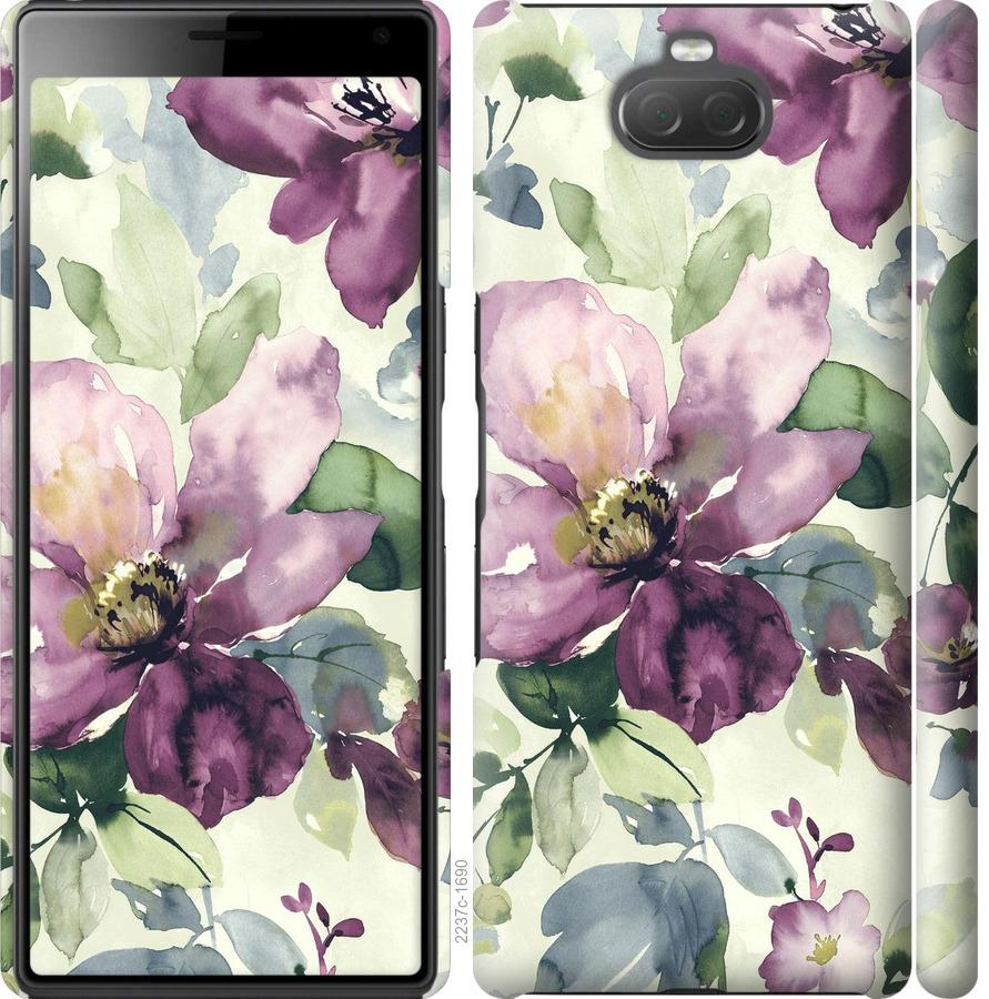 Чехол на Sony Xperia 10 Plus I4213 Цветы акварелью