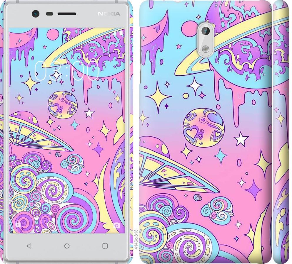 Чехол на Nokia 3 Розовая галактика
