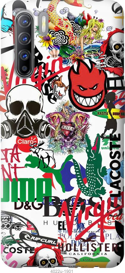 Чехол на Oppo A91 Many different logos
