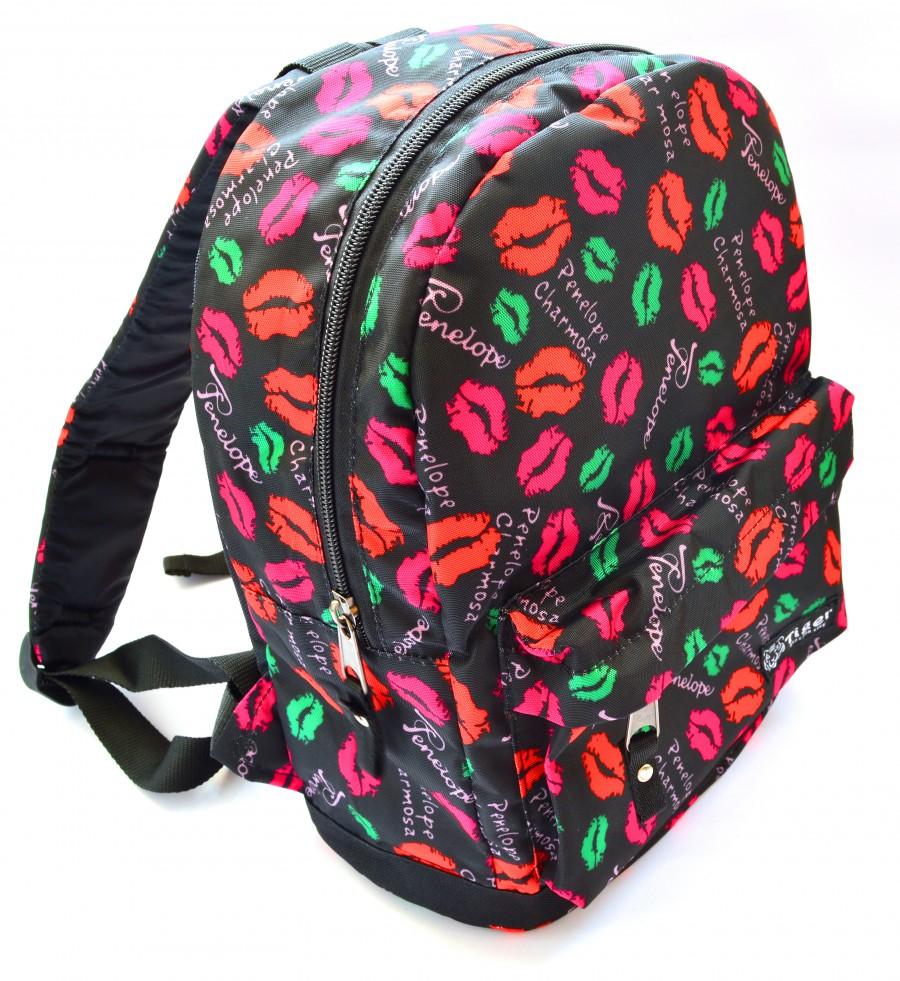 женский яркий рюкзак с губами