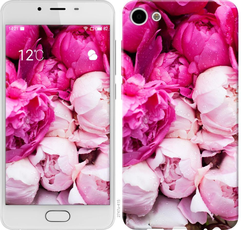 Чехол на Meizu U10 Розовые пионы