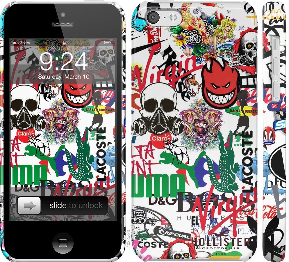 Чехол на iPhone 5c Many different logos