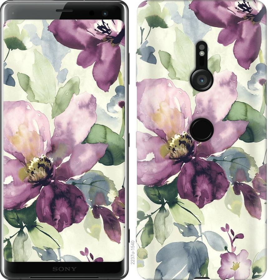 Чехол на Sony Xperia XZ3 H9436 Цветы акварелью