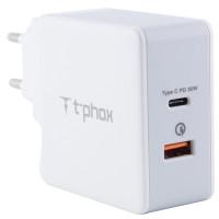 СЗУ PD адаптер T-phox (48W: PD 30W + USB QuickCharge QC 3.0 18W)
