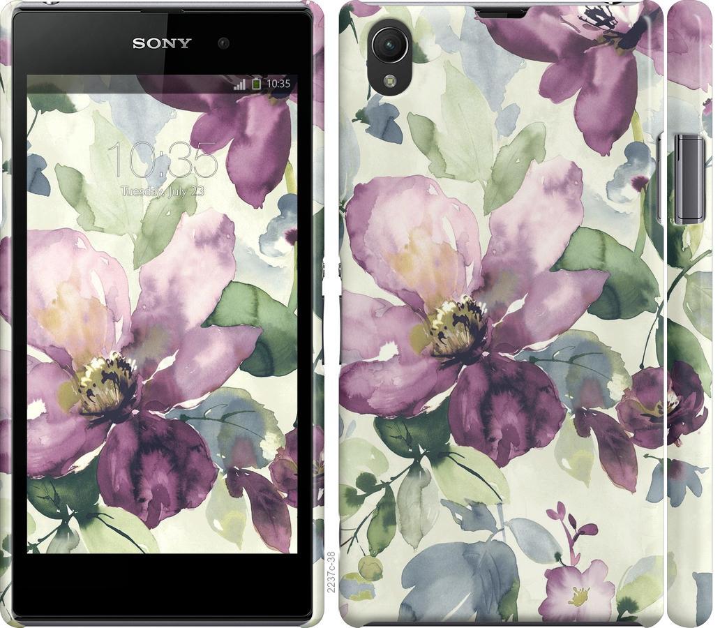 Чехол на Sony Xperia Z1 C6902 Цветы акварелью