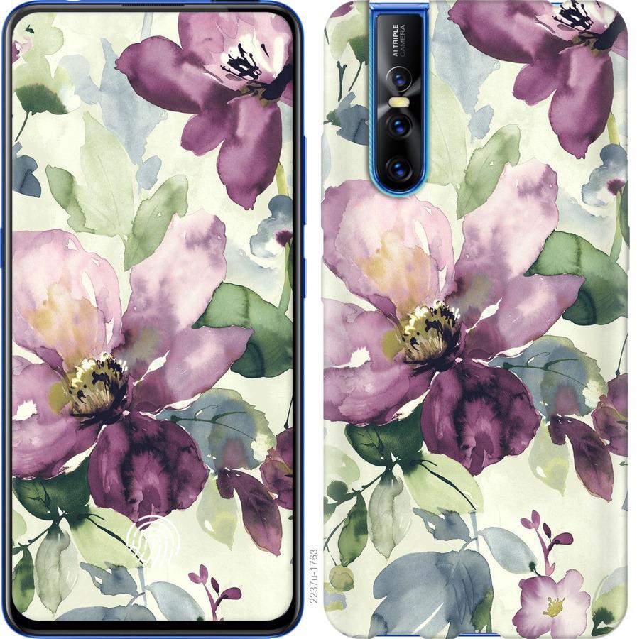 Чехол на Vivo V15 pro Цветы акварелью