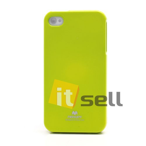 Фото TPU чехол Mercury Jelly Color series для Apple iPhone 4/4S Лайм на itsell.ua