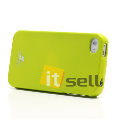 Купить TPU чехол Mercury Jelly Color series для Apple iPhone 4/4S Лайм на itsell.ua