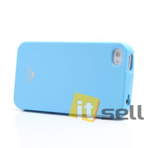 Фото TPU чехол Mercury Jelly Color series для Apple iPhone 4/4S Голубой на itsell.ua