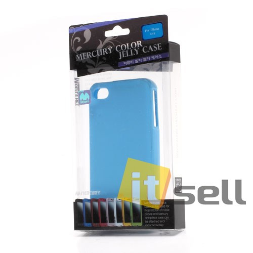 Купить TPU чехол Mercury Jelly Color series для Apple iPhone 4/4S Голубой на itsell.ua