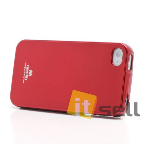 Фото TPU чехол Mercury Jelly Color series для Apple iPhone 4/4S Красный на itsell.ua
