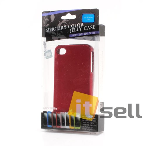 TPU чехол Mercury Jelly Color series для Apple iPhone 4/4S Красный на itsell.ua