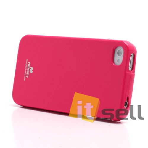 Фото TPU чехол Mercury Jelly Color series для Apple iPhone 4/4S Малиновый на itsell.ua