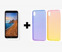 TPU чехол Gradient Color для Xiaomi Redmi 7A + Защитное стекло Ultra 0.33mm для Xiaomi Redmi 7A