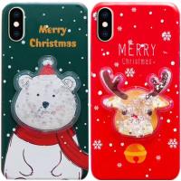 "TPU чехол Merry Christmas с жидкостью для Apple iPhone X / XS (5.8"")"
