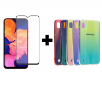 TPU+Glass чехол Gradient Aurora с лого для Samsung Galaxy A10 (A105F) + Защитное стекло 2.5D CP+ (full glue) для Samsung Galaxy A10 / A10s / M10