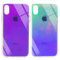 "TPU+Glass чехол Gradient Rainbow с лого для Apple iPhone XS Max (6.5"")"
