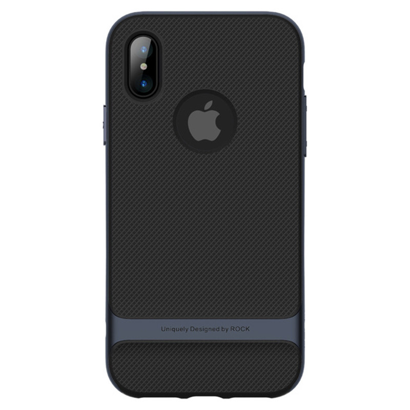 "TPU+PC чехол Rock Royce Series для Apple iPhone X (5.8"") (Черный / Синий)"