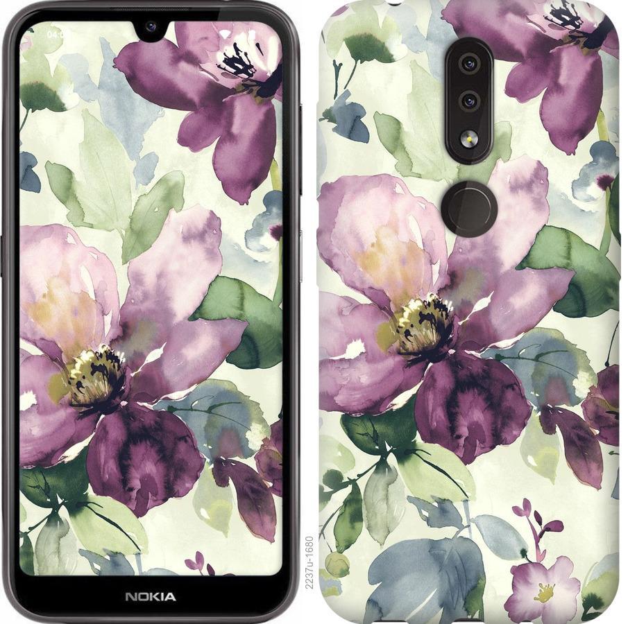 Чехол на Nokia 4.2 Цветы акварелью