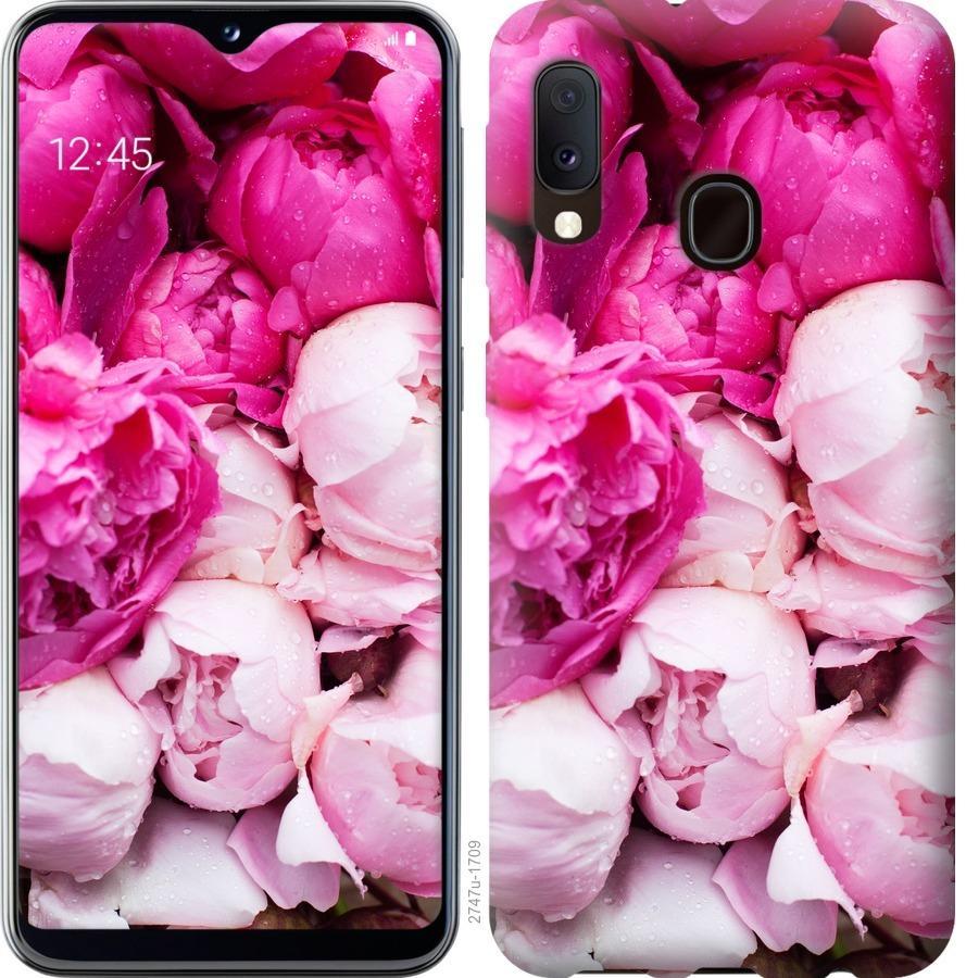 Чохол на Samsung Galaxy A20e A202F Рожеві півонії