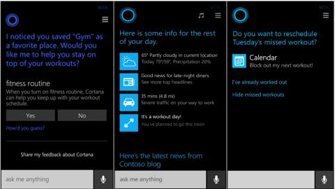 новая функция Microsoft - Cortana фитнес