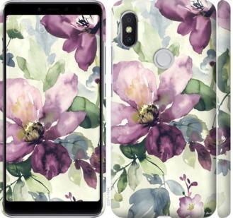 Чехол на Xiaomi Redmi S2 Цветы акварелью