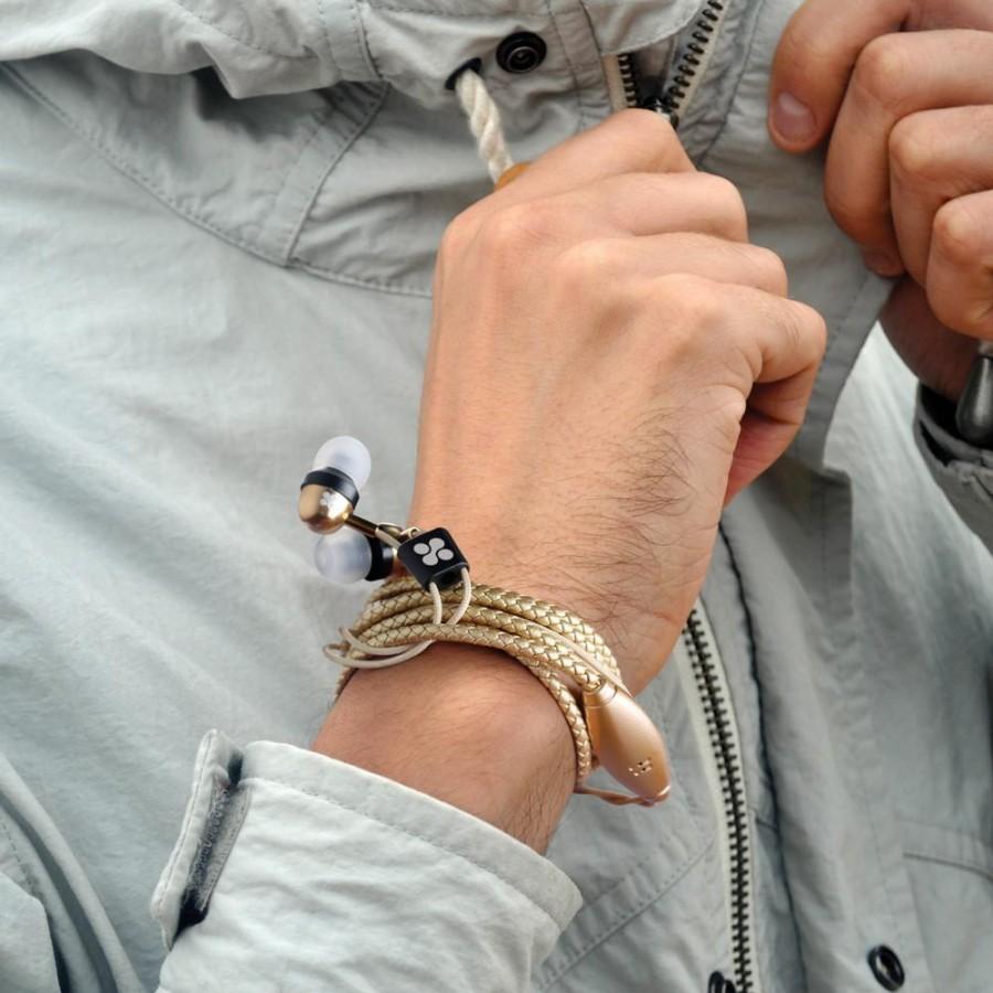 Проводная гарнитура Promate - Vogue Wearable Wristband Style Leather Stereo Earphones