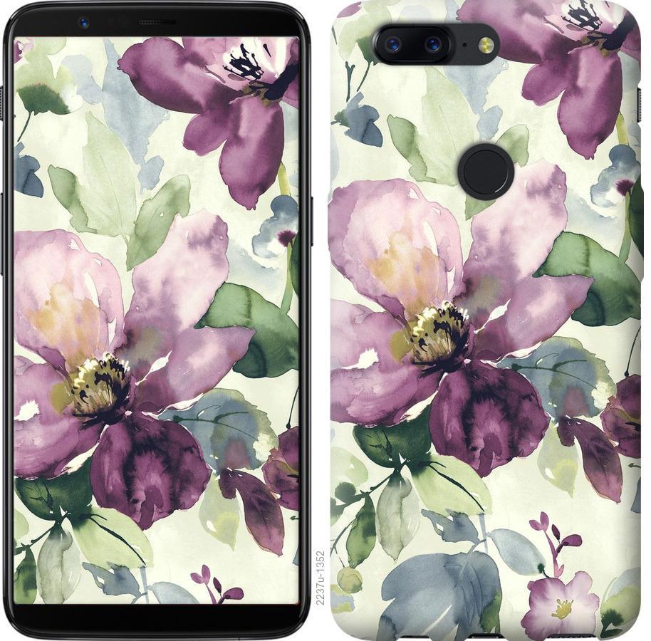 Чехол на OnePlus 5T Цветы акварелью