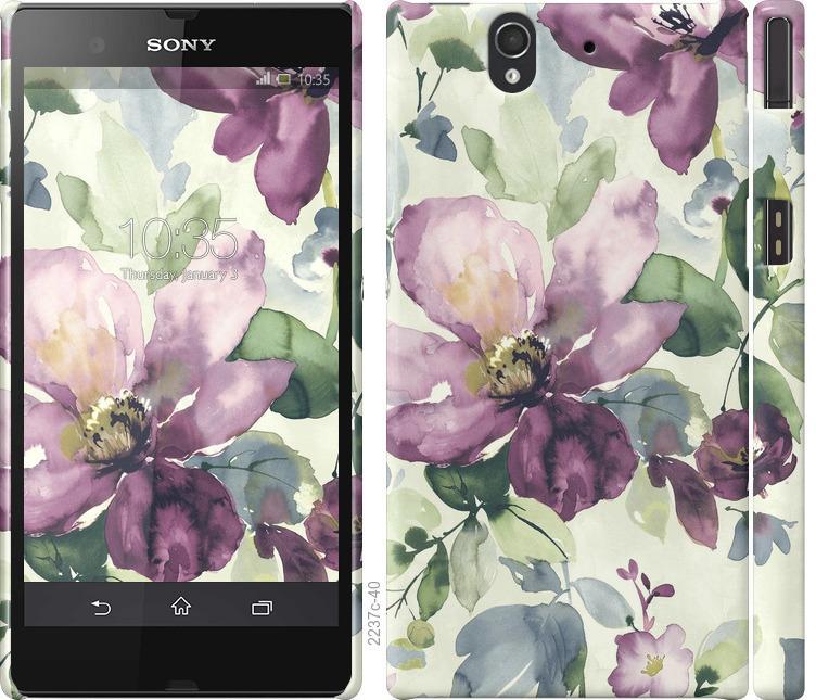 Чохол на Sony Xperia Z C6602 Квіти аквареллю