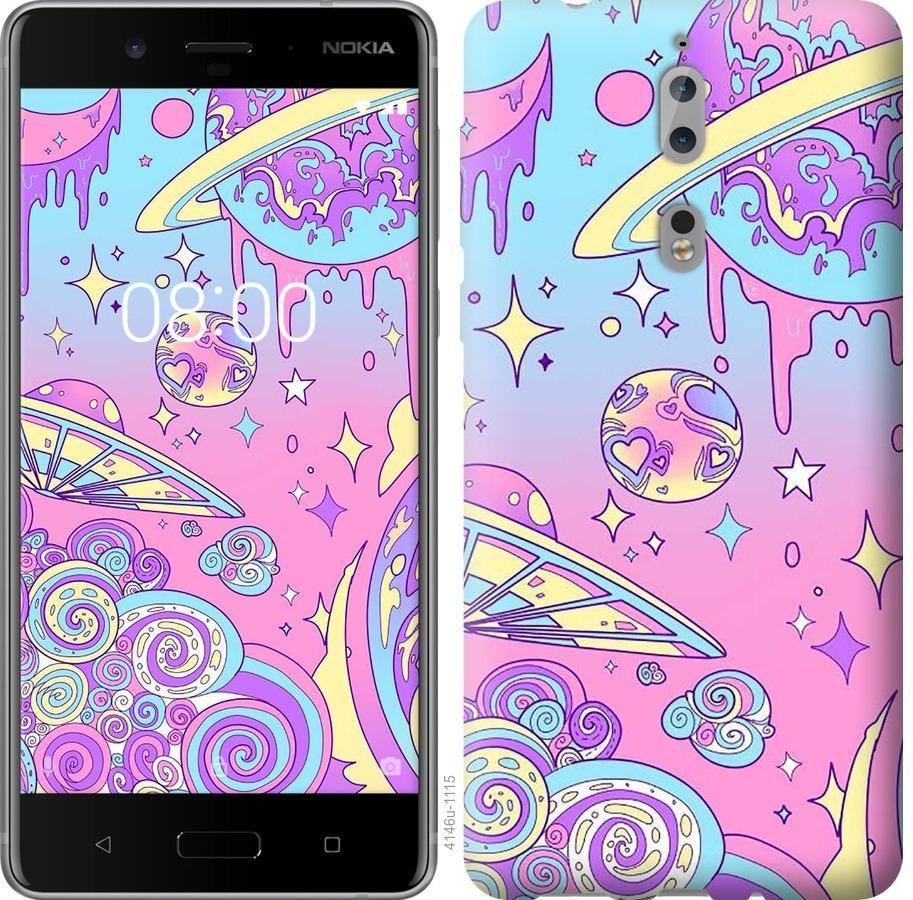 Чехол на Nokia 8 Розовая галактика