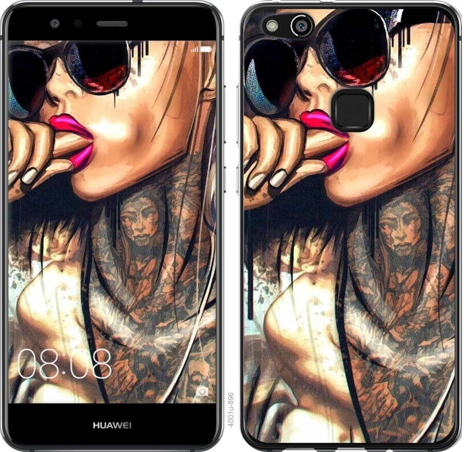Чехол на Huawei P10 Lite Девушка в тату